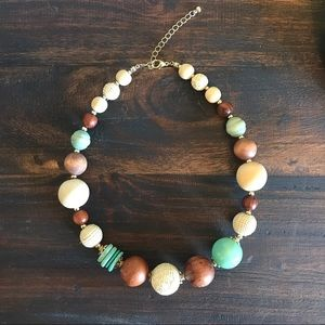 Brown, tan and turquoise beaded necklace